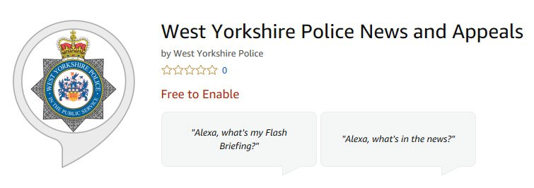 Amazon Skill - West Yorkshire Police Latest News and Appeals