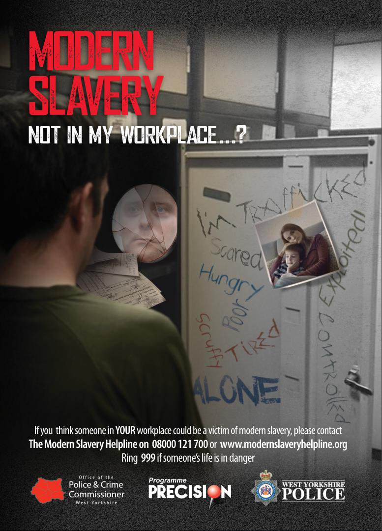 Modern slavery campaign workplace poster