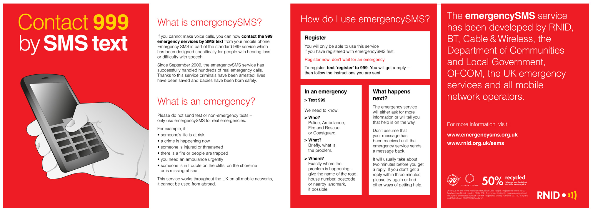 Emergency SMS Leaflet