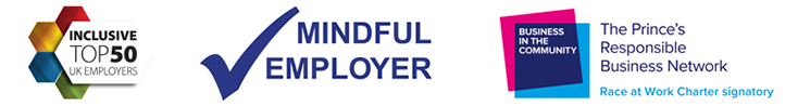 Partnership logos - Top 50 Exclusive Employers / Mindful Employer / The Prince's Responsible Business Network